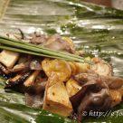 ナポレオンフィッシュと並ぶメイン料理のひとつ、雲南の各種きのこのバナナの葉包み蒸し。バナナの葉と、レモングラスの香り、そして発酵調味料が食欲をそそる。