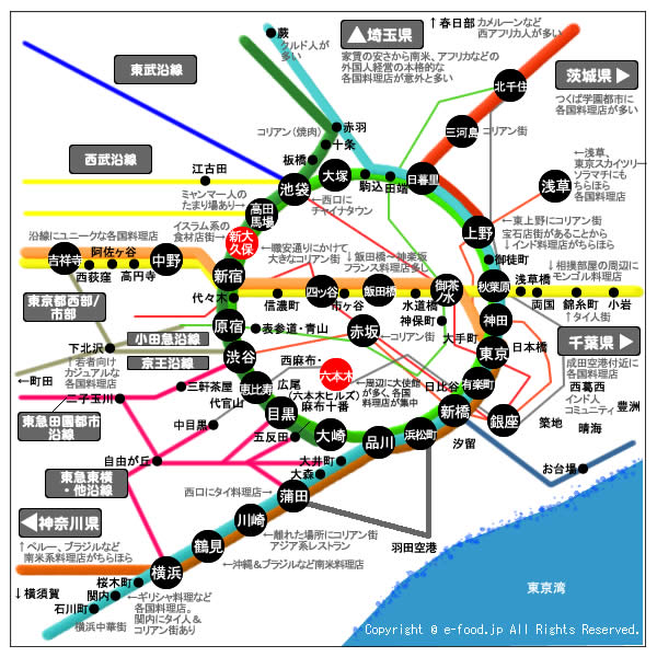 東京レストランサーチ 鉄道地図