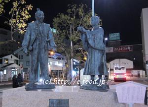 長浜駅前にある、秀吉と石田光成の出会いの像。