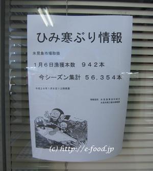 JR氷見駅に張り出されていた、寒ぶりの漁獲高情報。