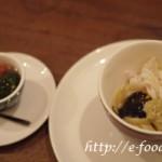 米村シェフの毛蟹の冷静パスタ。締めにはそばの感覚が、日本人にはうれしい一品。